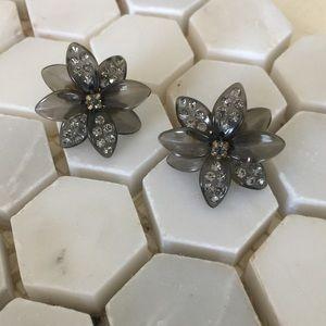 J. Crew Black Flower with Crystals Earrings